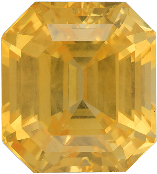 Magnificent Yellow Sapphire Loose AIGS Certified Gemstone in Emerald Cut, Medium Yellow, 11.43 x 10.36 mm, 10.07 Carats - With AIGS Certificate