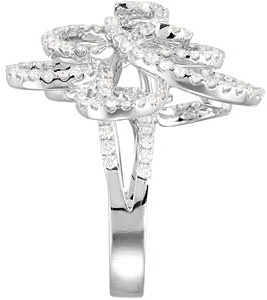 Majestic 1.75 carat total weight 1.20 mm Round Shaped Diamond Flower Ring expertly set in 14 karat White Gold