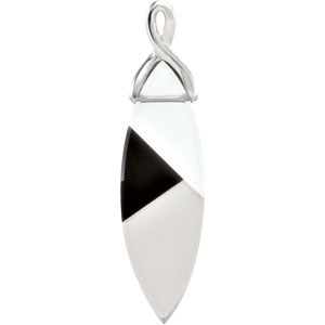Majestic 23ct 37x12mm White Quartz, Smoky Quartz & Onyx Pendant expertly set in Sterling Silver for SALE - FREE Chain Included