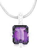 Majestic 3.9 ct 11x9mm Amethyst & Cubic Zirconia Necklace set in Sterling Silver - Free Chain