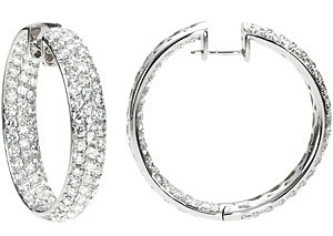 Majestic 6.00 carat total weight Diamond Inside/Outside Hoop Earrings expertly set in 18 karat White Gold for SALE - SOLD