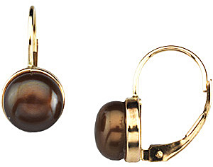 Majestic 7.5mm Freshwater Dyed Chocolate Cultured Pearl Lever Back Earrings in 14 karat Yellow Gold