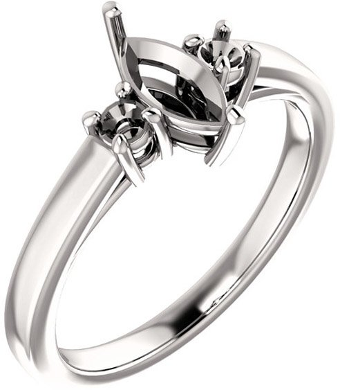 Marquise 3-Stone Ring Mounting for Shape Centergems Sized 8.00 x 4.00 mm to 12.00 x 6.00 mm, Round Side Gems - Customize Metal, Accents or Gem Type