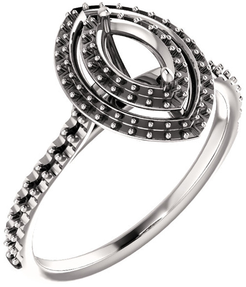Marquise Double Halo Accented Engagement Ring Mounting for Shape Centergems Sized 6.00 x 3.00 mm to 10.00 x 5.00 mm - Customize Metal, Accents or Gem Type