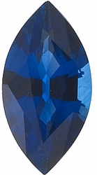 Loose Genuine Blue Sapphire Gemstone, Marquise Shape, Grade AA, 6.50 x 3.50 mm in Size, 0.45 Carats