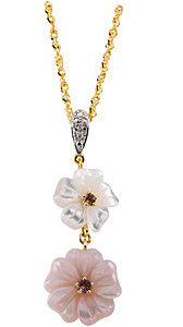 Marvelous 6mm Pink Tourmaline, Mother Of Pearl & Diamond Pendant set in 14 karat Yellow Gold - Free Chain