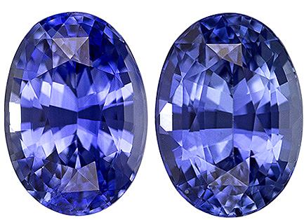 Matched Pair of Gem Blue Sapphires in Calibrated Oval Cut, Cornflower Blue, 7 x 5 mm, 2.14 carats