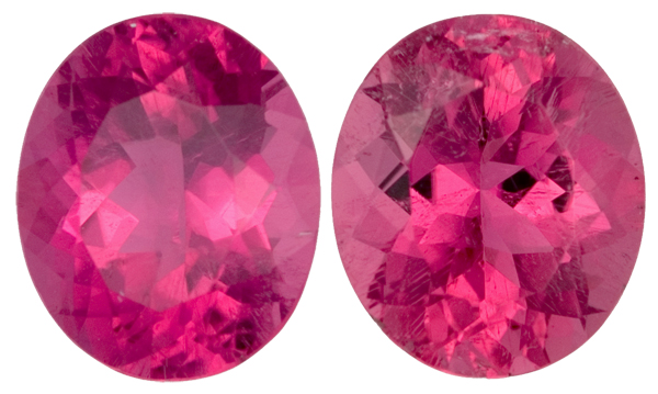Matched Shocking Rich Pink Oval Rubelite Tourmaline Pair - No Heat, 12.0 x 10.4mm, 10.22 carats