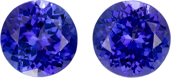 Matched Tanzanite Round Loose Gems, Excellent Cut in Rich Purple Blue Color in 7.5 mm, 3.8 carats