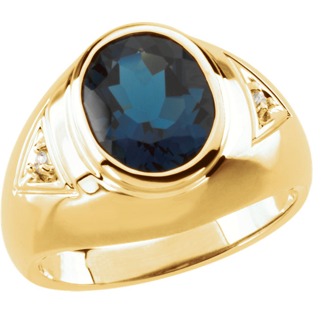 Classic Men's Oval Genuine London Blue Topaz & Diamond Ring