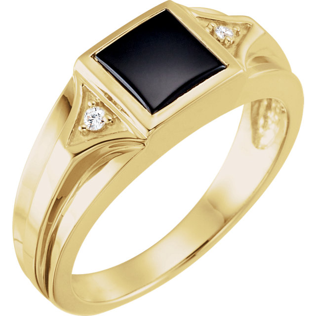 Terrific Men's Square Genuine Onyx & Diamond Ring