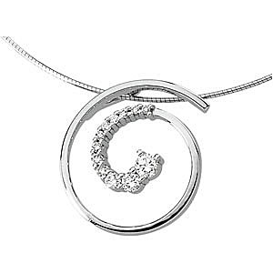 Mesmerizing 1/2ct Journey Style Swirl Shaped Slide Pendant for SALE in 14k White or Yellow Gold - FREE Chain