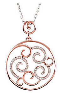 Mesmerizing 1/4ct 14k Rose Gold Swirl Pendant with Diamond Accents - FREE Chain Included - SOLD