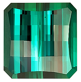 Mesmerizing Blue/Green NamibianTourmaline Gemstone, Octagon Cut, 13.8 x 13.5 mm,  Straight Checkerboard 18.14 carats