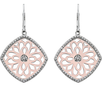 Mesmerizing Flower Design Leverback Dangle Earrings With Diamond - Rose Plated Silver - SOLD