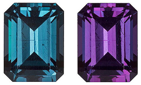 Color Change Alexandrite Genuine Brazilian Gemstones - Excellent Clarity & Cut, 5.5 x 4.2 mm, Bright & Lively, Emerald Cut, 5.5 x 4.2 mm, 0.69 carats