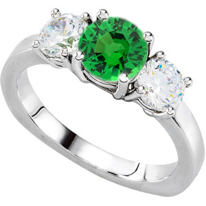 Mind-Blowing 3-Stone Engagement Ring With Round 1 carat 6mm Tsavorite Garnet Center & Round Diamond Side Gems