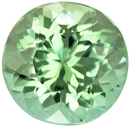 Mint Colored  Round Cut Loose Tourmaline Gem Fiery Gem in 7.2 mm, 1.56 carats