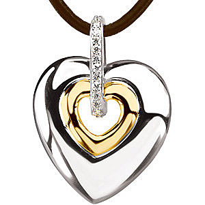 Modern and Cool Two Tone Heart Pendant with Diamond Accents and a Brown Leather Cord Chain - SOLD