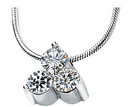 Modern Look! - .75tc 4mm 3-Stone Created Moissanite Slide Pendant in 14k White Gold for SALE - FREE Chain Included With Pendant