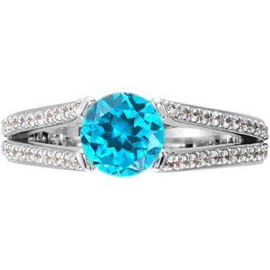 Modern Split Shank 4-Prong Genuine Blue Zircon Gemstone Engagement Ring - Diamond Accents Along Bands - SOLD