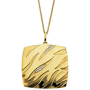 Modern Square Shaped 14k Yellow Gold Abstract Patterned Pendant with .04ct Diamond Accents - FREE Chain