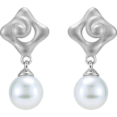 Modern Style 7.5-8mm Pearl Dangle Earrings With Unique Sterling Silver Designs - SOLD