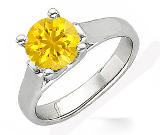 Modern Style Round Yellow 1 carat 6mm Sapphire Solitaire Gemstone Ring With Chunky 14k Gold Band