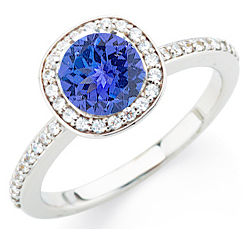 Most Popular Diamond Pave Dark Intense 1 CARAT GEM 6.5mm Round Tanzanite Ring in White Gold on SALE