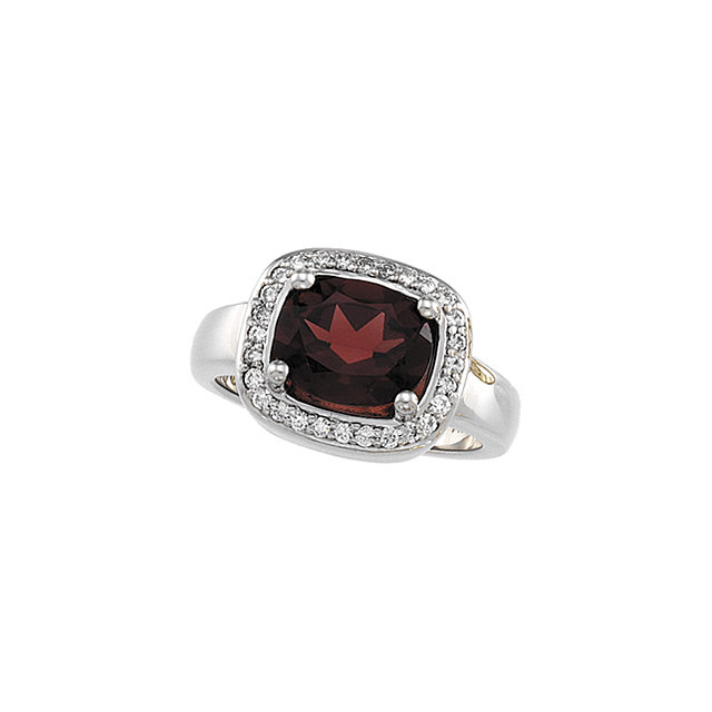 Perfect Gift Idea in Mozambique Garnet & Diamond Halo-Style Ring