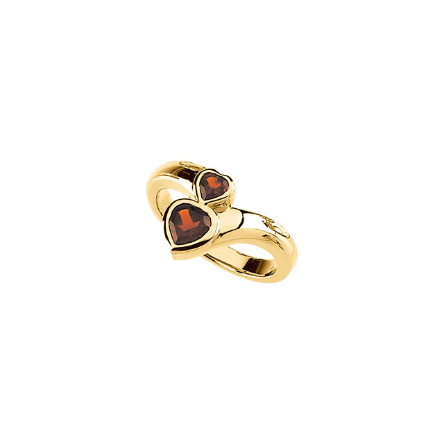 Must Have Heart Genuine Mozambique Garnet Double Ring