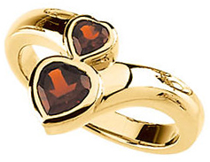 Contemporary Mozambique Garnet Double Heart Ring