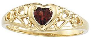 Alluring Heart Genuine Mozambique Garnet Design Ring