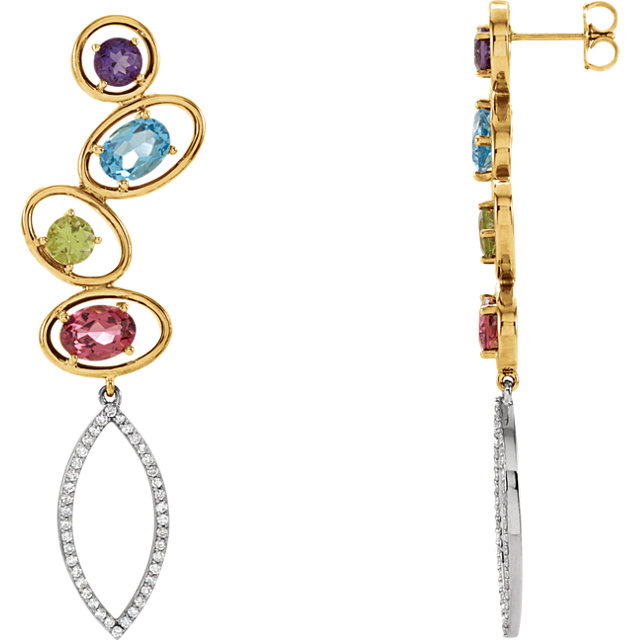 Enchanting Multi-Gemstone & Diamond Earrings