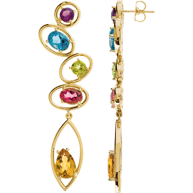 Stylish Multi-Gemstone Earrings
