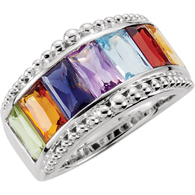 Appealing Jewelry in Multi-Gemstone Granulated Design Ring