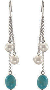 Multi Strand 31.08ct Bead Pearl and 12x9mm Turquoise -Dangle Wire Earrings in Sterling Silver - SOLD