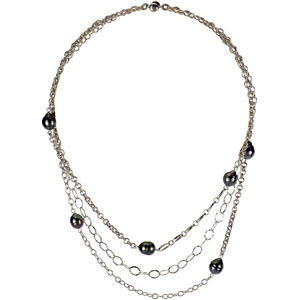 Multi-Tiered Fashion 9mm Tahitian Cultured Pearl Necklace with Varied Designs of Sterling Silver Chains - SOLD