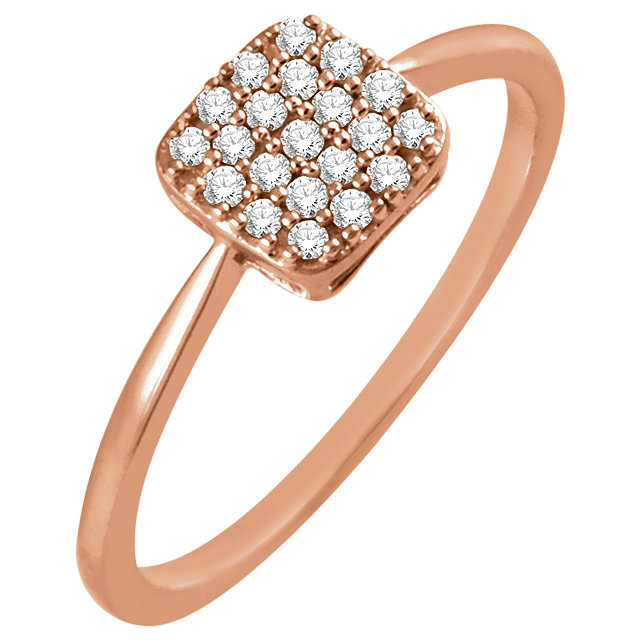 Must See 14 Karat Rose Gold 1/6 Carat Total Weight Diamond Square Cluster Ring