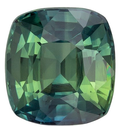 Must See  Blue Green Sapphire Gemstone, 1.24 carats, Cushion Shape, 5.8 x 5.4 mm, Super Great Buy