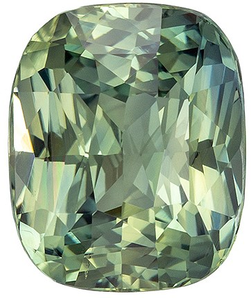 Must See No Heat GIA Blue Green Sapphire Gemstone, 2.37 carats, Cushion Shape, 8.35 x 6.85 x 4.69 mm, Truly Stunning