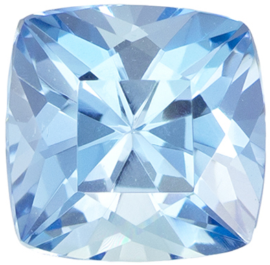 Must See Gemstone  Blue Aquamarine Cushion Cut, 0.74 carats, 5.7 mm