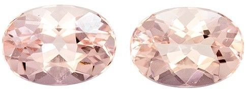 Must See Pair of Morganite Gemstones, 1.56 carats, Oval Shape, 7 x 5 mm, Unique Stones