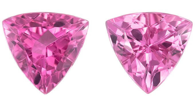Must See Pink Tourmaline Trillion Shaped Gemstone, 1.39 carats, 6mm - Super Great Buy