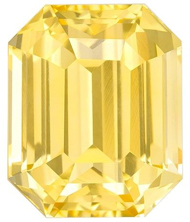 Must See Yellow Sapphire Emerald Shaped Gem with GIA Cert, 5.56 carats, 10.36 x 8.45 x 6.44 mm - Low Price