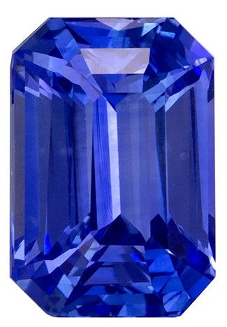 Must See10.2 x 7 mm Sapphire Loose Gemstone in Emerald Cut, Medium Blue, 4.02 carats