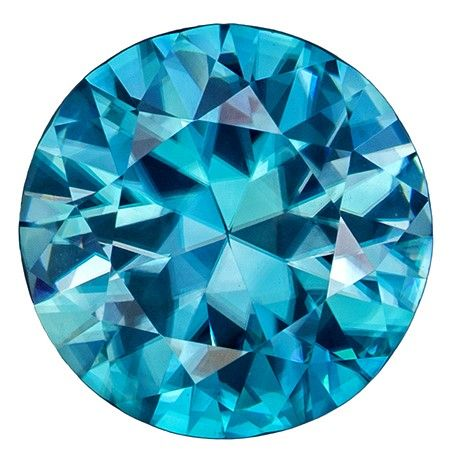 Must See2.47 carats Zircon Genuine Gemstone in Round Cut, Vivid Teal, 8.1 mm