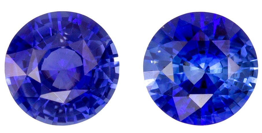 Must See5 mm Sapphire Loose Genuine Gemstone Pair in Round Cut, Vivid Blue, 1.14 carats