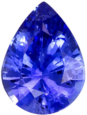 Must See7.8 x 5.8 mm Sapphire Loose Gemstone in Pear Cut, Vivid Blue, 1.07 carats