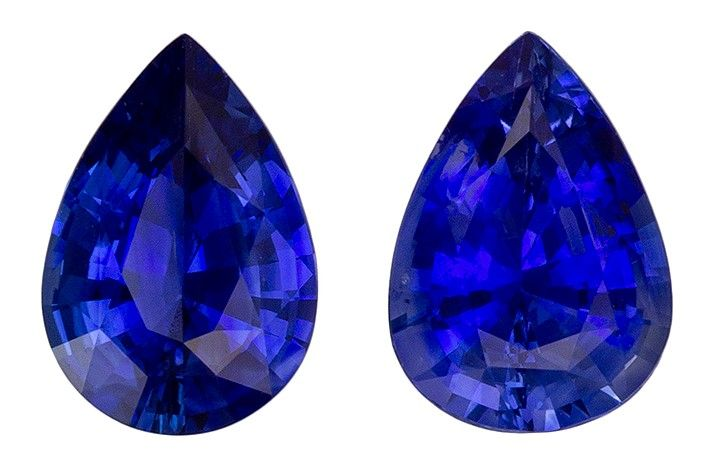 Must See7 x 5 mm Sapphire Loose Gemstone Pair in Pear Cut, Vivid Blue, 1.44 carats